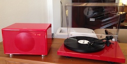 Geneva M and Pro-ject Debut Carbon turntable in gloss red